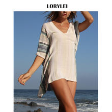 8210479eede Boho Rayé Élastique Robe De Plage En Crochet grande taille Femmes Tunique  Tricot Bikini Couvrir Sexy Jupes Costume Blanc pareo p.