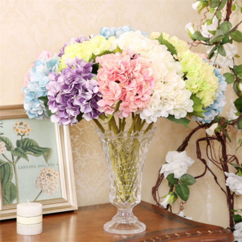 Artificial Hydrangea Bouquet Silk Flowers Leaft Wedding Birthday Party Home Decor Mini Baroque Hydrangea Floral Fake Flower