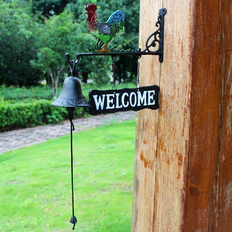 Чугунный металлический петух сарай колокольчик висящий домик сарай ворота забор крыльцо Добро пожаловать обеденный звонок ручная краска с... - 3