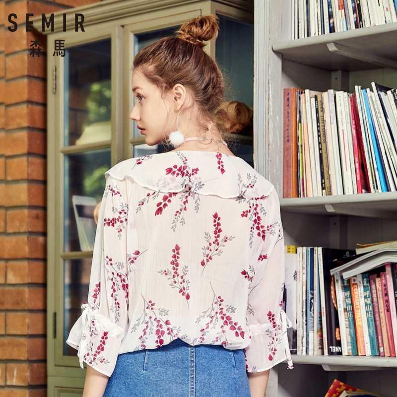 SEMIR женская шифоновая блузка с цветочным принтом, блузка с воланом, женская блузка с воланом, блузка с рукавами, рубашка Женская мода, топы, лето