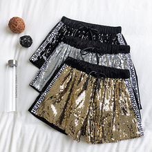 NiceMix New Fashion Summer Short Pants Casual Wear Sequins Letter Printing High Waist Shorts Women Skateboard Sexy Female