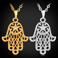 New Gold Plated Hamsa Hand Kabbalah Judaica Crescent Moon Star Necklace Pendant Lucky Hands Necklace Jewelry For Women P457