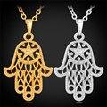 Nuevo Oro Mano de Hamsa Kabbalah Judaica Crescent Moon Star Collar Colgante Afortunado Manos Collar de La Joyería Para Las Mujeres P457