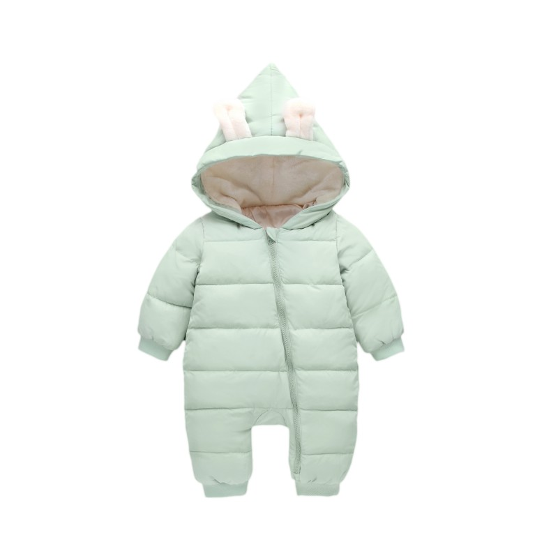 0-2T Year Infant Children Winter Cotton Down Romper Solid Color Full Sleeve Outerwear Hooded Boys Girls Baby Down Jacket