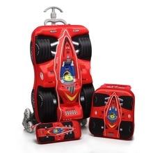 3 Teile/satz kinder autos Reisegepäck 3D stereo zugstange box cartoon kind bleistift-box kinder KÜHLEN koffer geschenk Internat box