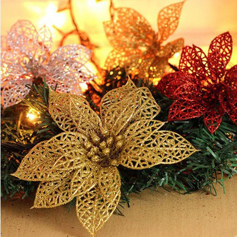 Christmas 15cm Poinsettia Glitter Artificial Flowers Tree Hanging Home Decor Toy