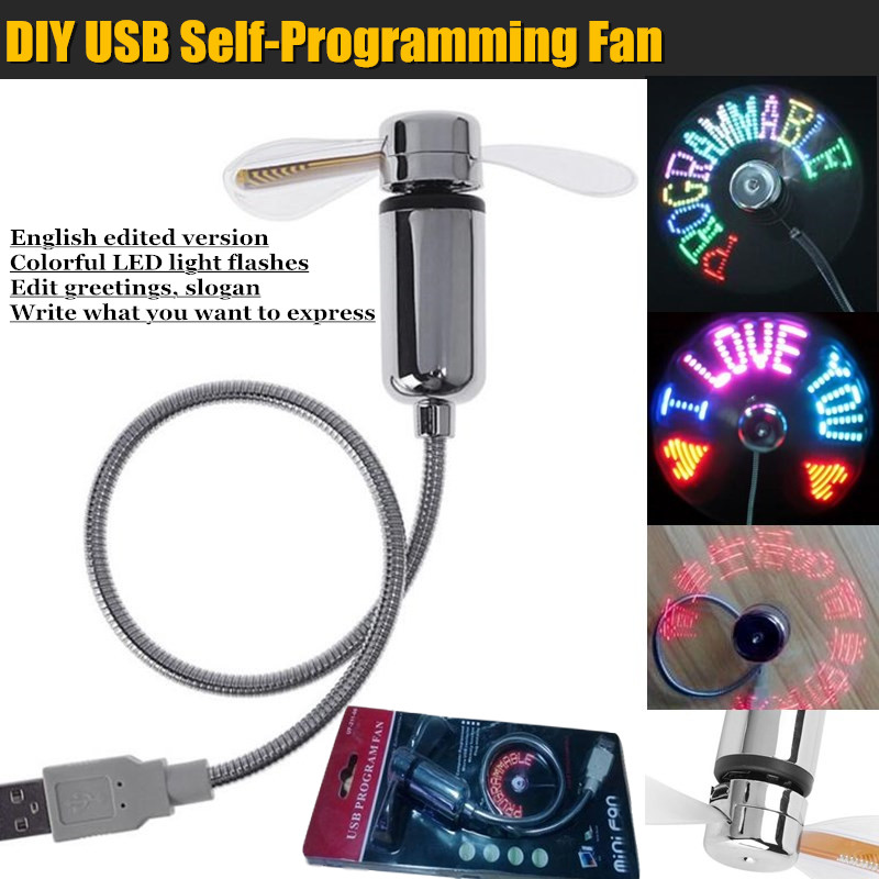 DIY USB LED Light Flash Self Program Fan Edit&Display Colorful Letters  Symbol Number Greetings Slogan Fan for PC & Mobile Power