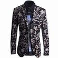 New Blazer Men Unique Mens Slim Fit Printed Blazers Jacket Brand Black Double Button Blazer Suit Jacket Terno Blazer Masculino
