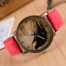 Retro Bronze Quartz Wristwatches Harajuku Graffiti Women Denim Watch Fashion Casual Men's Sports Clock Gift Relogio Masculino
