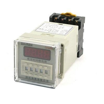 AC/DC 12V 0.01s-9999h Range Digital Display Timer Time Delay Relay w Socket dh48j 8 1 9999 panel mount digital counter relay w base ac dc 24v 50 60hz