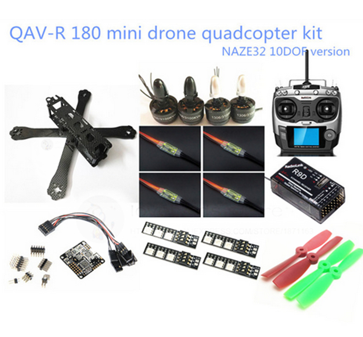 DIY FPV mini drone QAV-R 180 quadcopter (frame + Radio link AT9 + 1306 3100KV motor + dragonfly BL6A ESC OPTO 2-4S + CC3D + LED) diy fpv mini drone qav180 zmr180 cross race quadcopter pure carbon frame kit naze32 10dof 1306 3100kv motor bl 6a esc opto