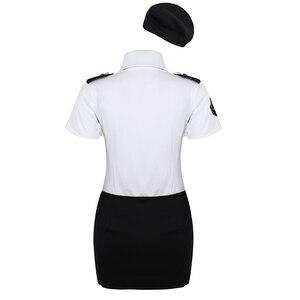Image 2 - زي تنكري شرطي مثير للسيدات للبالغين ، زي تنكري شرطي ، قميص أبيض ، مع ربطة عنق ، أزياء لعب الأدوار
