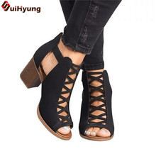 Suihyung Women Sandals Plus Size 35-43 High Heel Gladiator Casual Shoes Summer Outside Slides Woman ZIP Sandals Sandalias Mujer