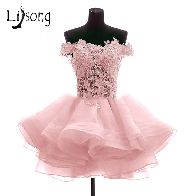 059e69afe384 Blush Pink 3D Flower Short Cocktail Dresses Dress For Graduation 2018 Off  Shoulder Pearls Appliques Ruffles Formal Party Dress