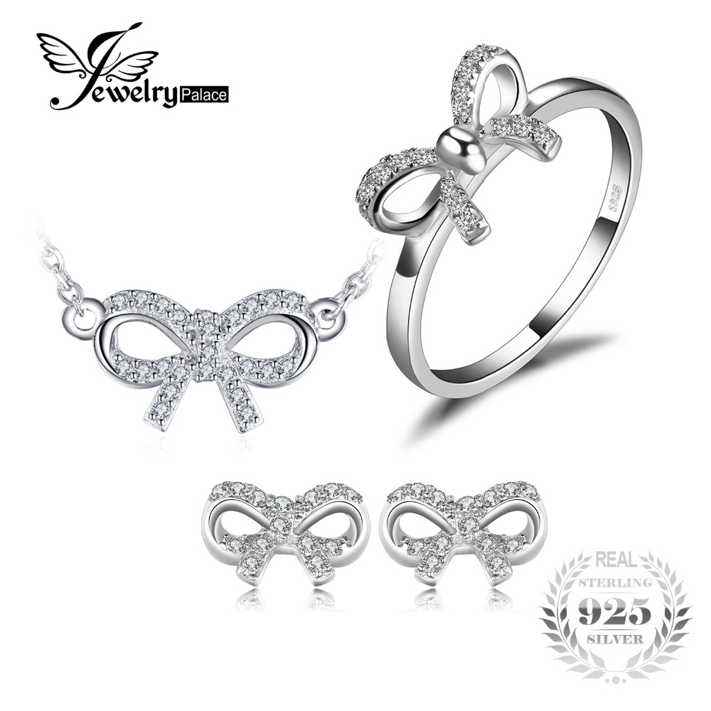 JewelryPalace Charming Bow Round Cubic Zirconia Ring Necklace Stud Earrings Jewelry Sets 925 Sterling Silver Women Fashion charming rhinestoned round bracelet with ring for women