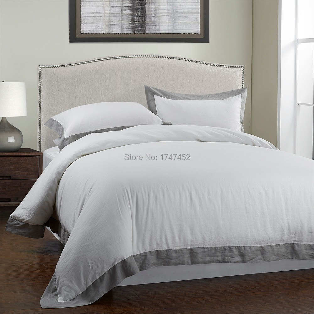 100 linen stone wash bedding set with grey border in for Black and white marble bedding