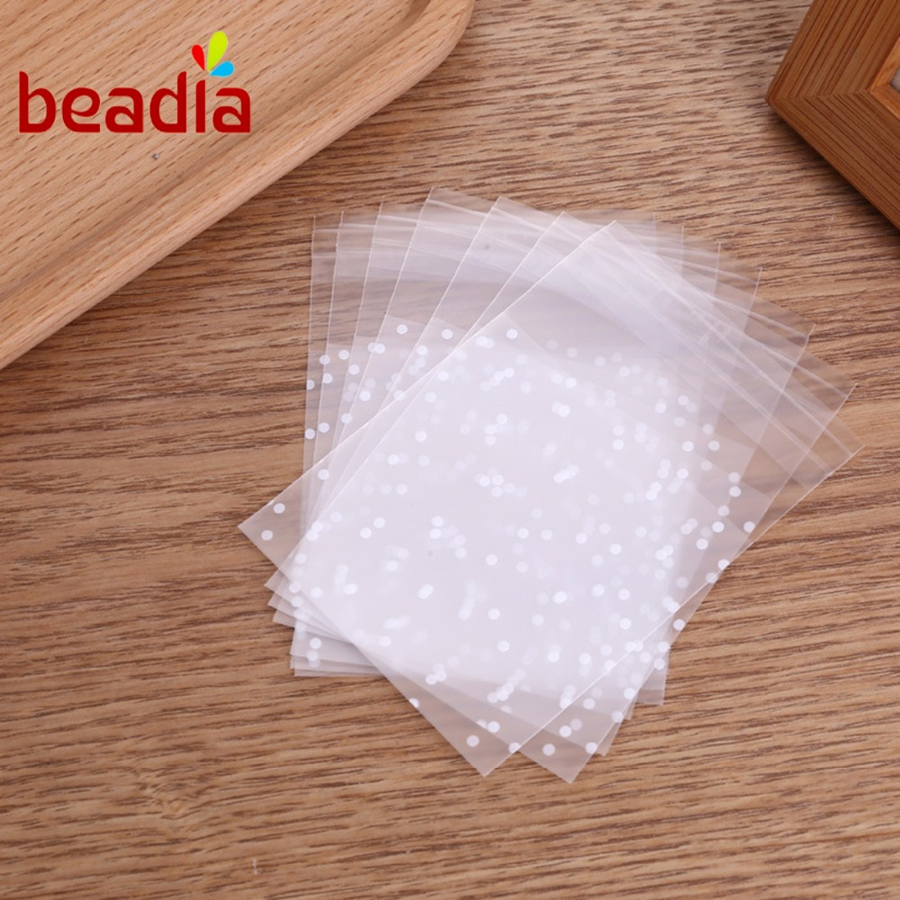 100pcs Transparent Round Spot Dot Candy Cookies Beads Moisture Proof Self Adhesive Gift Bag Pouches Wedding Brithday Gifts DIY