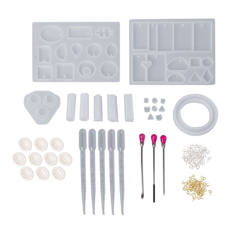 1 Set Silicone Mold Mix Stick Dropper Clasp DIY Jewelry Making Accessories Tools Molds Geometric Epoxy Resin Combination Crafts