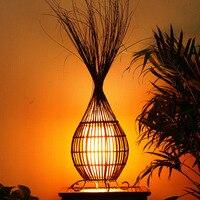 Творческий Настольная лампа SPA club, настольная лампа из ротанга lounge, гостиная украшения