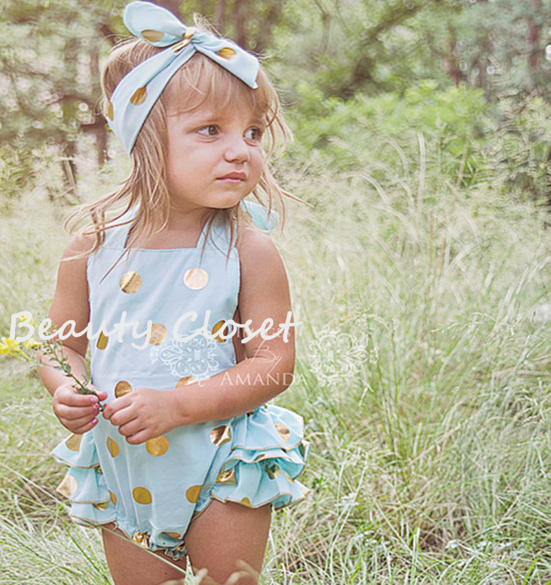 61246c7be016 Baby Girl Mint Blue With Gold Polka Dot Bubble Romper With Matching  Headband Birhtday Outfit Photo Prop