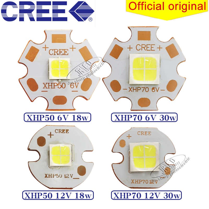 CREE XHP50 XHP70 generation XHP50.2 XHP70.2 generation 18W 30W led White Neutral White Warm Emitter 6V 12V 20mm 16mm coppe 1pcs cree xlamp xhp 70 xhp70 6v warm neutral cold white 30w high power led emitter chip blub lamp light with 20mm pcb heatsink