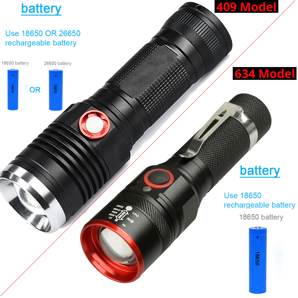 28000Lums LED Flashlight USB Rechargeables 4Modes Zoom Waterproof Torch by 1 18650 or 26650 Outdoor lighting Tactical led torch in LED Flashlights from Lights Lighting
