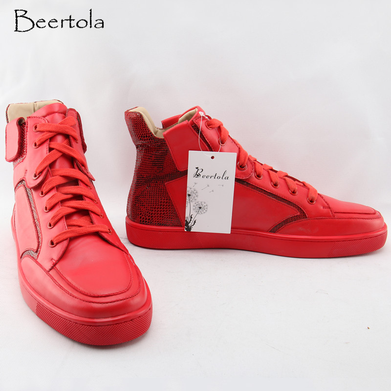 Beertola Rot herren Sneakers Leder Gürtel Zipper Decor Red