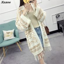 New Autumn Tassel Sweater Coat Long Knitting Cardigans Women Fashion Winter Female Striped Thick Warm Cardigan