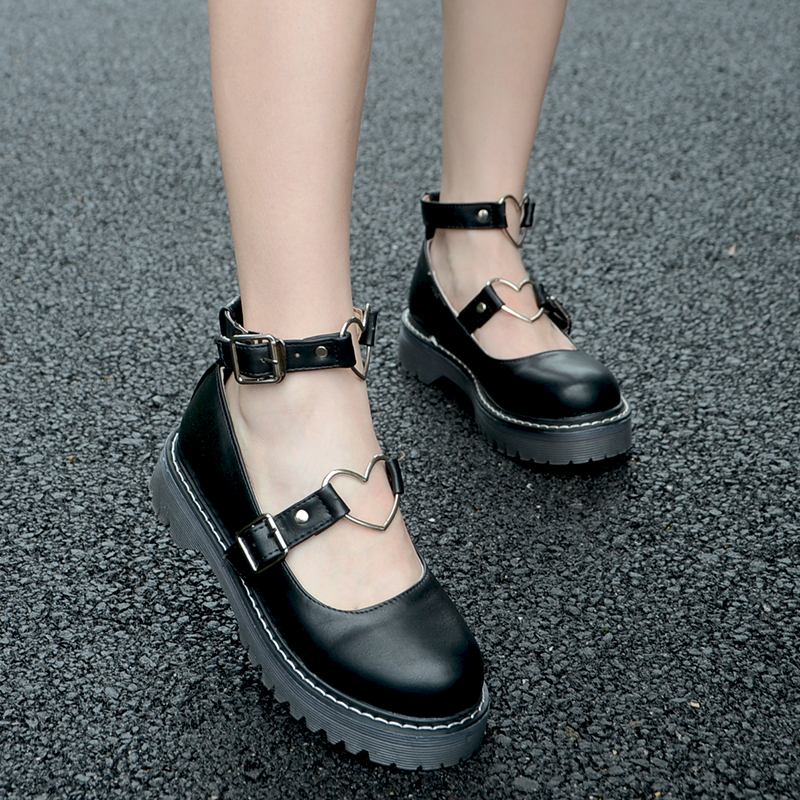 Japanese Vintage Preppy Style Mori Girl Round Toe Platform <font><b>Shoes</b></font> JK Students <font><b>Lolita</b></font> <font><b>Shoes</b></font> PU Leather <font><b>Shoes</b></font> image