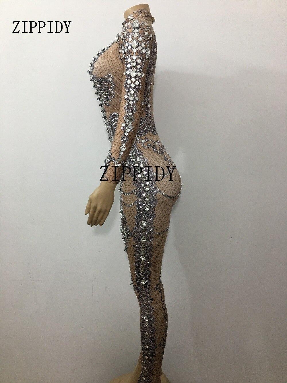 Cristaux Porter Brown Célébrer Performance De Body Femmes Grand Strass Salopette Sexy Stretch Costume Anniversaire Luxueux Scintillants gqgBwp