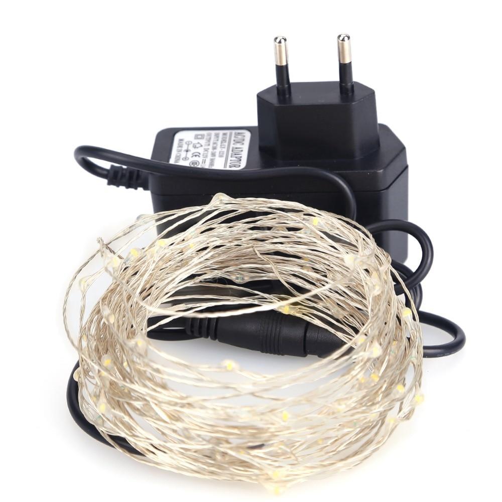 LED String Light 10m 100leds Silver Wire Fairy Lights med 12V 1A - Festlig belysning - Foto 6