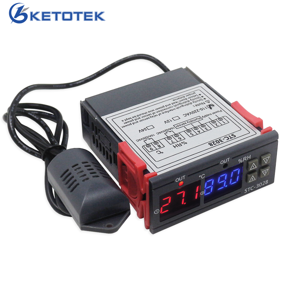 Digital Thermostat Hygrostat Temperature Humidity Controller AC 110V-220V DC12V Regulator Heating Cooling Control STC-3028