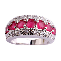 Fashion Women Band Rings Round Cut Red Ruby  Silver Ring Size 6 7 8 9 10 11 12 Free Shipping Free Shipping Gift For Ladies