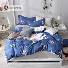 Liv-Esthete White Flower Pastoral Bedding Set Decor Blue Duvet Cover Fitted Sheet Pillowcase Bed Linen For Adult Kids Bedspread