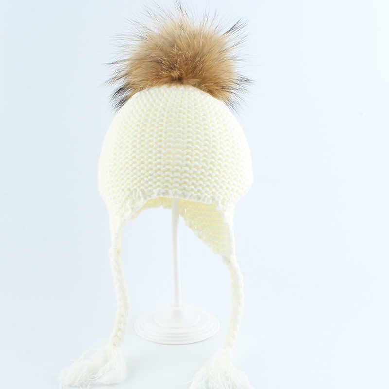 Verdadeira Pele De Guaxinim Pompom Beanie Chapéus Para crianças Meninos E Meninas Chapéu de Proteção de Orelha Quente Caps Inverno Babay 2019
