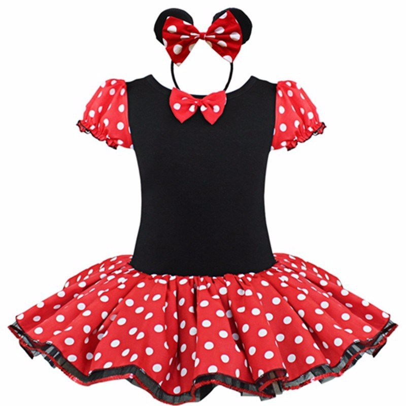 Baby Kids Dress Minnie Mouse Party Fancy Costume Cosplay Girls Ballet Tutu Dress+Ear Headband Girl Polka Dot Clothing Girl Dress layered flounce foldover polka dot bardot dress
