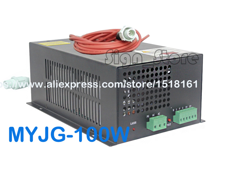 MYJG-100W CO2 Laser Power Supply 110V/220V High Voltage PSU 100W Watt Tube Engraving Cutting Machine Engraver Cutter Equipment 2pcs lot 60w laser power supply psu high voltage flyback hongyuan hy t60 co2 engraving cutting machine ignition coil