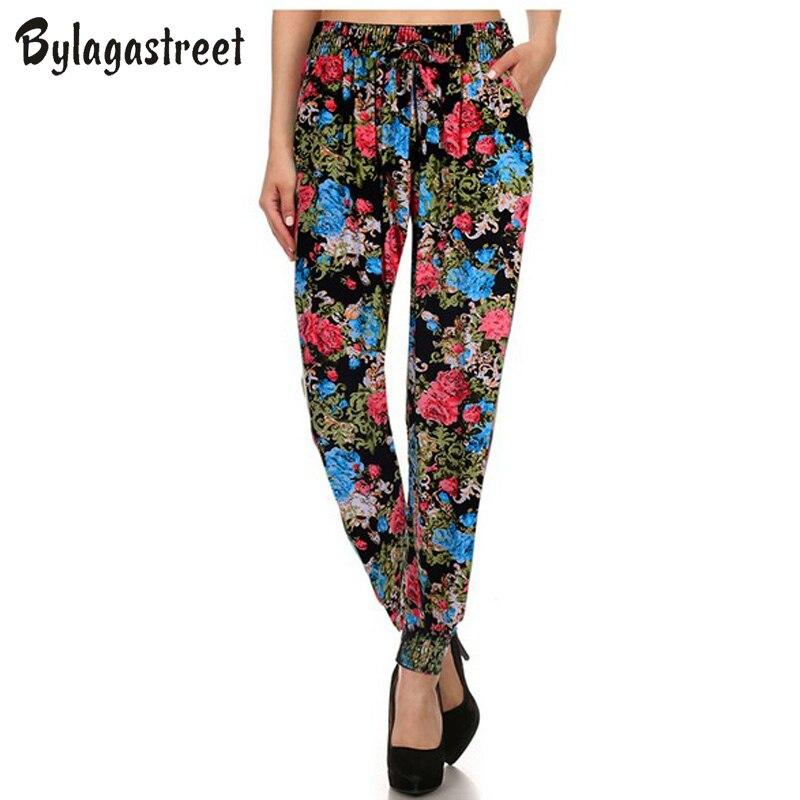2017 New Plus Size Women's Casual Soft Long Pants Pure Cotton Loose Workout Floral Printing Trousers Harem Pants Hot Sale