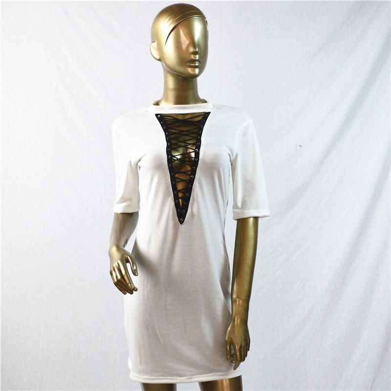 HTB1Cw4XOpXXXXXxaFXXq6xXFXXXo - Sexy Out Lace Up V Neck Dress Women Short Sleeve PTC 48