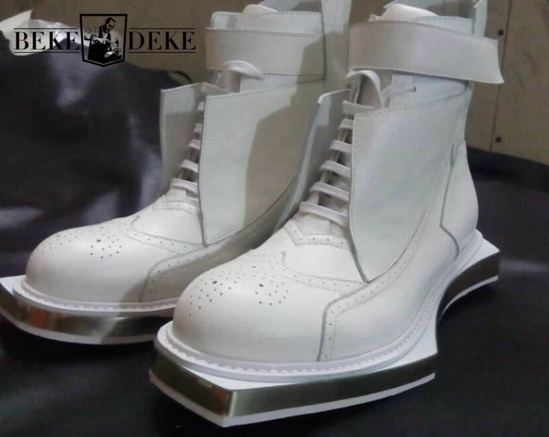 Runway Vintage Cow Leather Ankle Boots Men Carved High-Top Brogue Shoes British Style Geometric Sole Lace Up Work Knight Boots