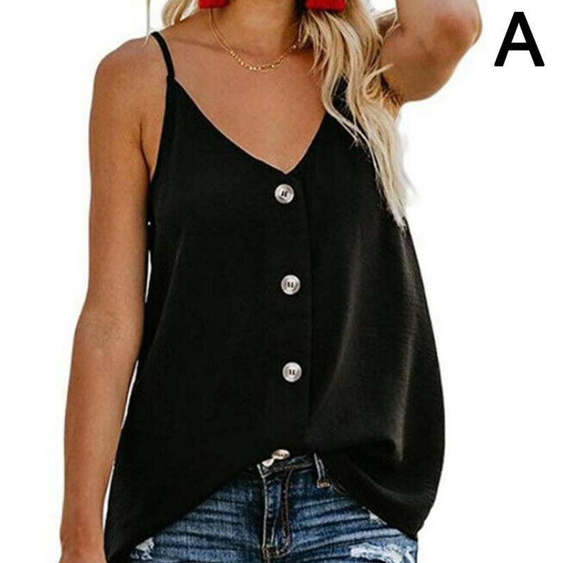 Womens Sleeveless   Tank     Top   Button Down Sexy V-neck Strappy   Tank     Top   Boho Solid Chiffon Loose Casual Camisole Backless Vest Shirt