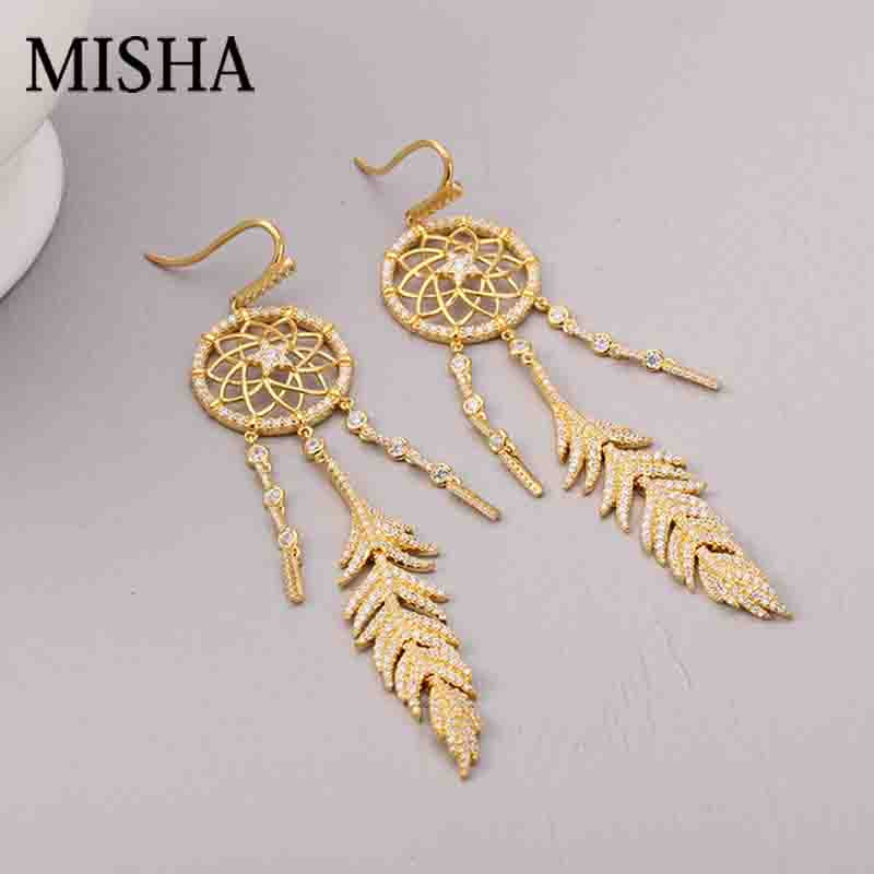 MISHA Charm gentle Dream Catcher Net Earrings High-Grade Feather tassel Pendant Girls Chic Accessories Fine Jewelry 2578 pair of chic turquoise feather tassel earrings for women