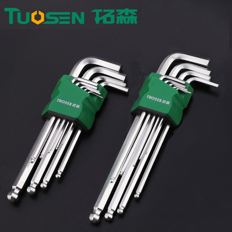 TUOSEN 9Pcs Cr-V Steel L-Shape Allen Hex Key Repair Tools Powerful Type Allen Wrench Set Ball Head Niversal Key Hexagon