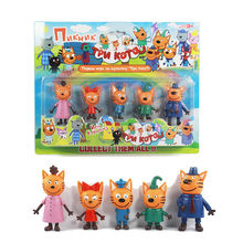 5pcs/lot Russian happy cat figures cartoon animal cat action toy family set Kawaii Brinquedos gifts for Children(China)