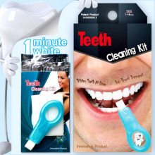 Teeth Cleaning Kit Burnisher Polisher Whitener Stain Remover Safe Wipe Off Dental Whitening Bleaching 4 Tampons