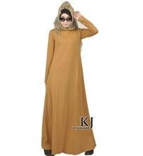2016 Islam casual abaya muslim girl fashion cotton dress turkish women clothing burqa robe plus size dubai arab djellaba KJ16020