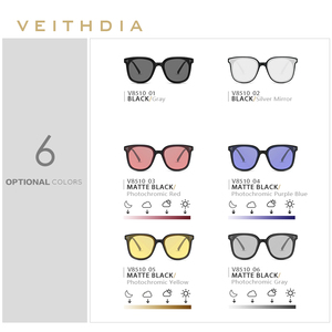 Image 5 - Veithdia Brand Fashion Zonnebril Gepolariseerde Meekleurende Lens Vintage UV400 Zonnebril Voor Mannen/Vrouwen Oculos De Sol V8510