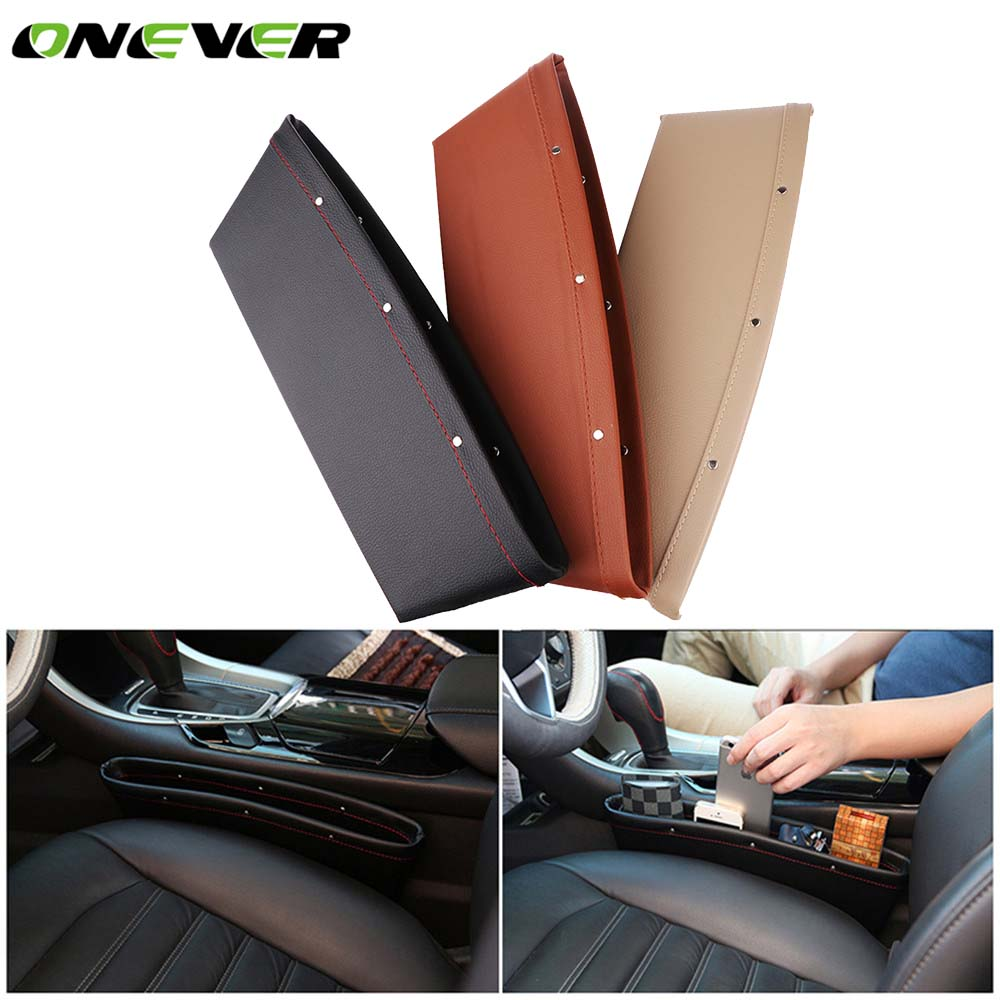 Car Seat Organizer ONEVER Catcher PU Leather Side Pocket Black