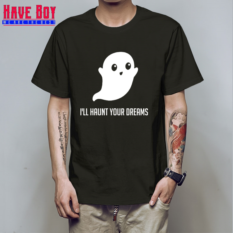HAVE BOY cute ghosts Ill haunt your dreams printed luminous t shirts men women creative t-shirts summer fluorescence HB313