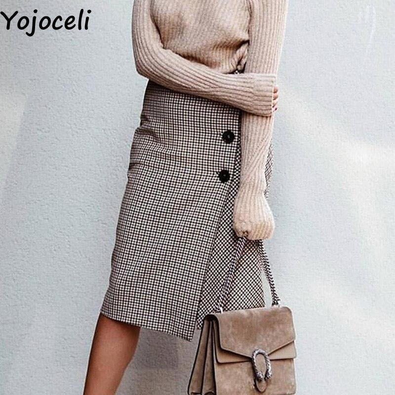 Yojoceli Long high waist plaid skirts womens Autumn winter button pencil skirt female Cool casual daily skirt bottom белая рубашка с объемными рукавами и вырезом